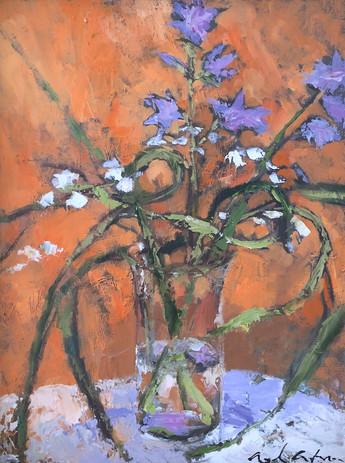 Garlic Scapes and Blue Bells on Orange, 16 x 12, framed, oil on canvas panel, POR