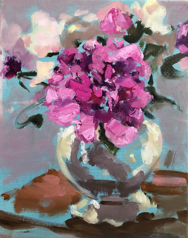Pink Peonies in a Pearl Necklace Vase, 10 x 8 oil on canvas, POR