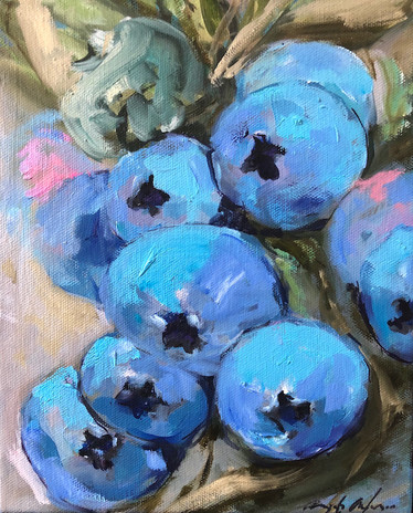 Blueberries in Deep Tones, 10 x 8 oil on canvas, Sold, Private Collection