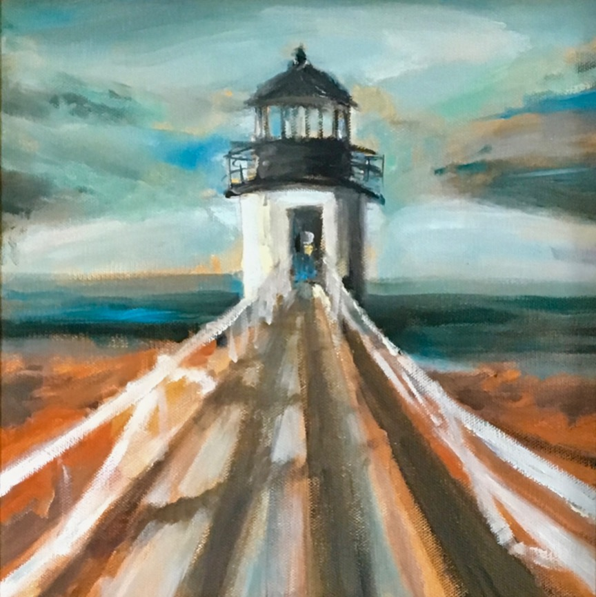 "Lighthouse in Orange & Yellow, 12""x12"", Private Collection, Massachusetts"
