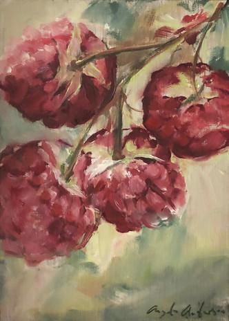 Raspberry Study, oil on linen panel, 7 x 5, framed.  POR