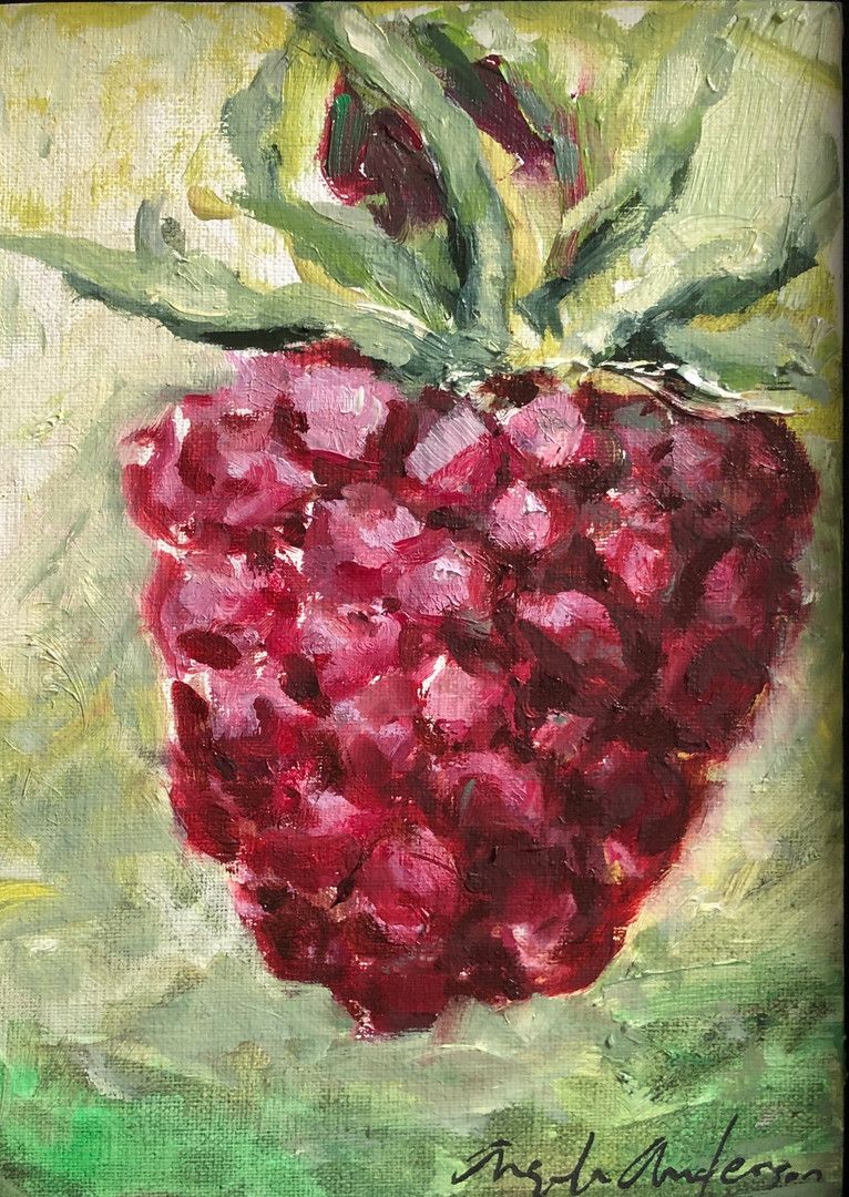 Raspberry Study, 7x5 framed, $100