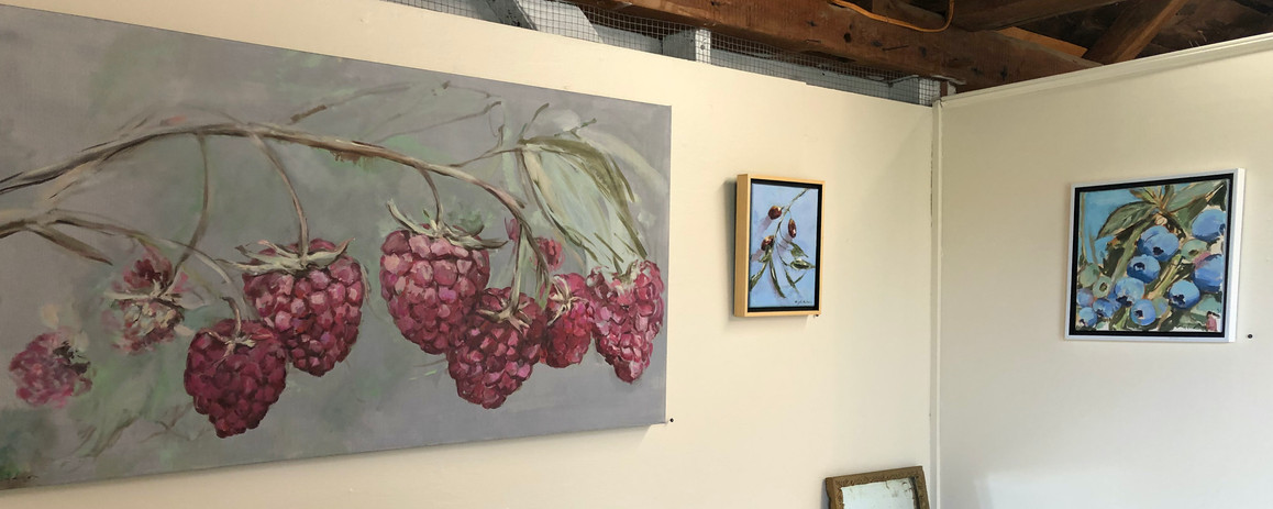 Installation View, Raspberry Vine, Olives, Blueberry Branch all oil on canvas, POR