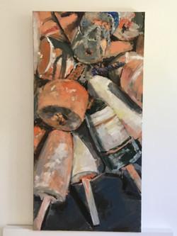 Sun-Bleached Buoys, oil on canvas, 30x15, $400