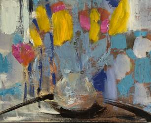 "Tulips, 8"" x 10"", oil on canvas, $100"