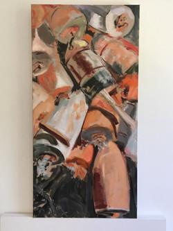 Sun-Drenched Buoys, oil on canvas, 30x15, $POR