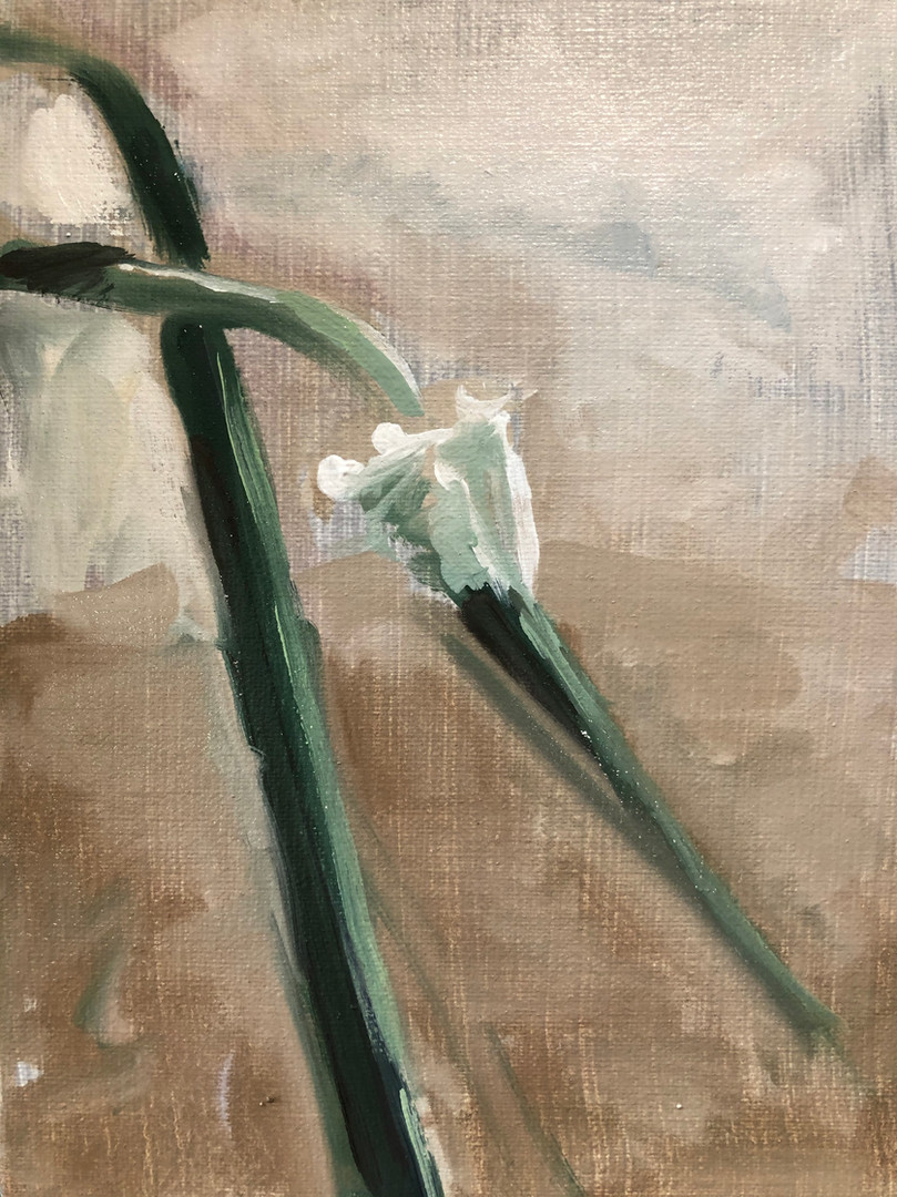 Garden Scape, oil on linen, 7x5, $125