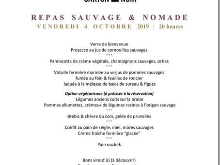 Repas sauvage & nomade chez CARTON NOIR (Vendredi 4 Octobre 2019)