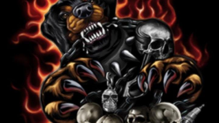 "Adult Shirt"" Rottweiler Attacking- Flamers"