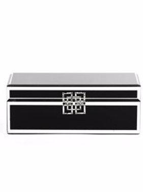 LARGE BLACK GLASS JEWELLERY BOX