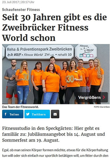 Seit 30 Jahren gibt es die Fitness World
