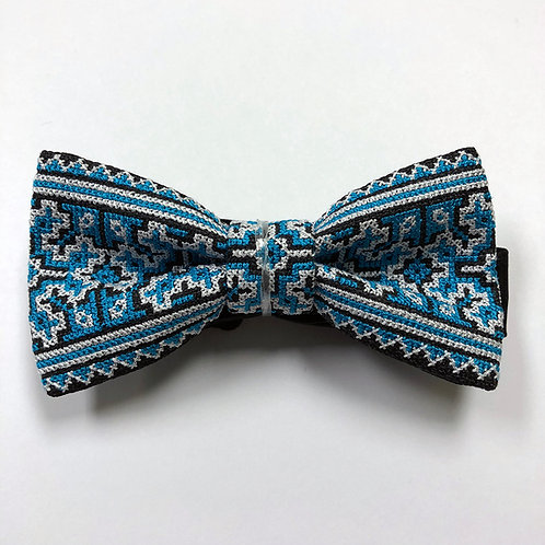 Hmong Bow Tie - Blue & White #1