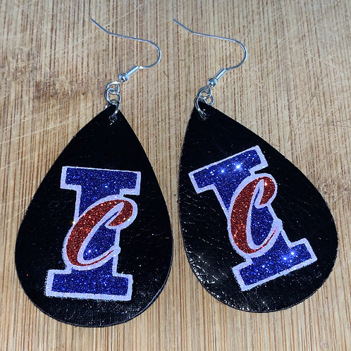 IC leather teardrop logo earrings