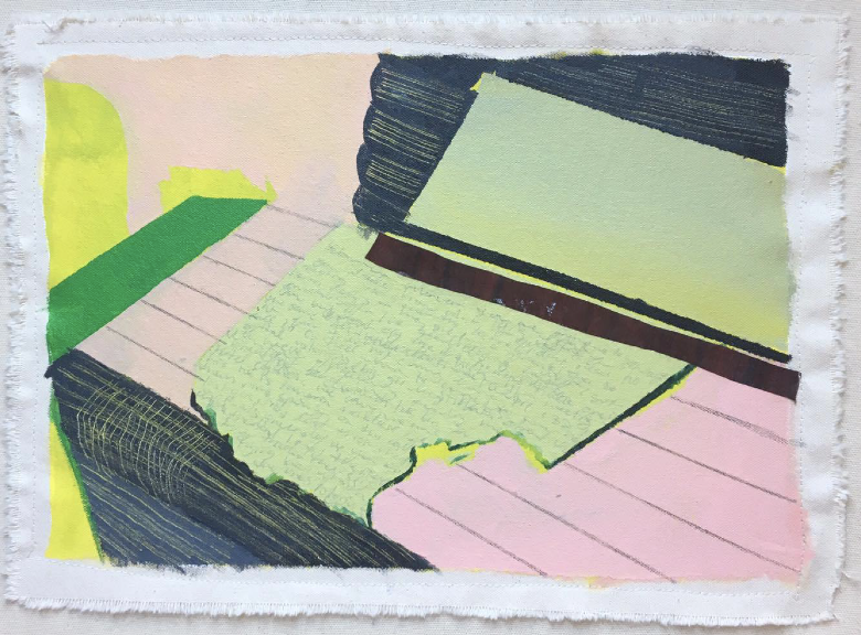 A photo of an abstract painting of newspapers going through a printing press, colored pink, lime green and grey.
