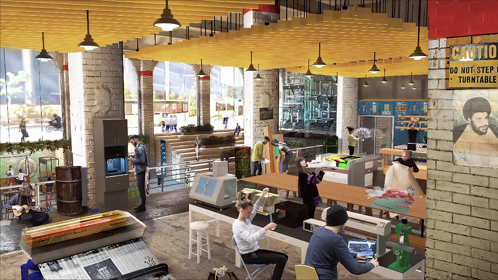 A conceptual rendering of a cafe inside the Marketplace of Ideas. People are working, playing with instruments and 3D printing tools, and looking at artwork. The room is well-lit from floor-to-ceiling windows out to the street.