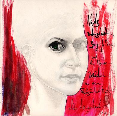 """Alex Bednarz """"Clothilde"""" (2015) Bleistift & Tusche, 25x25"""