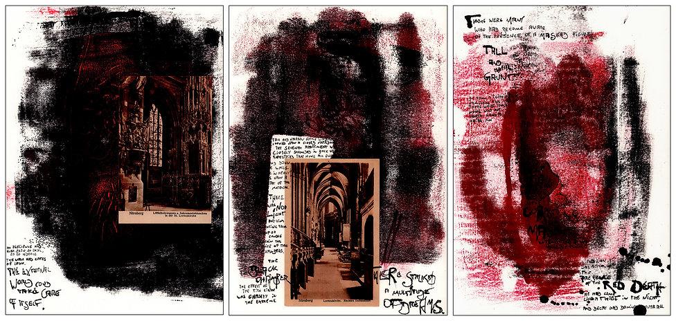 """Alex Bednarz """"Red Death"""" (Freie Arbeit, 2018) Montypien, Tusche, Collage"""