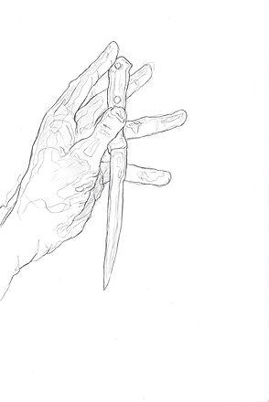 """Alex Bednarz """"Sketch a knife"""" (Freie Arbeit, 2017) Bleistift, 20x30"""