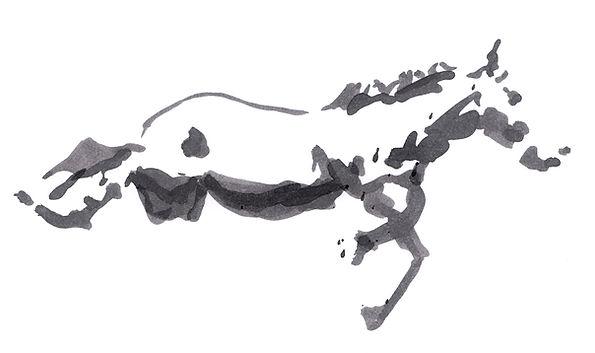 """Alex Bednarz """"Horse Sketch"""" (Freie Arbeit, 2019) Tusche, 30x20"""