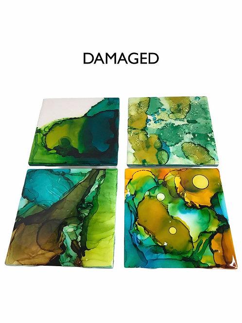 Damaged Tile Coaster Set