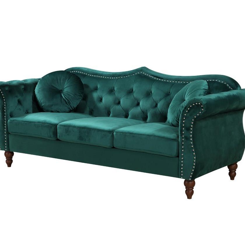 Green Velvet Chesterfield Sofa