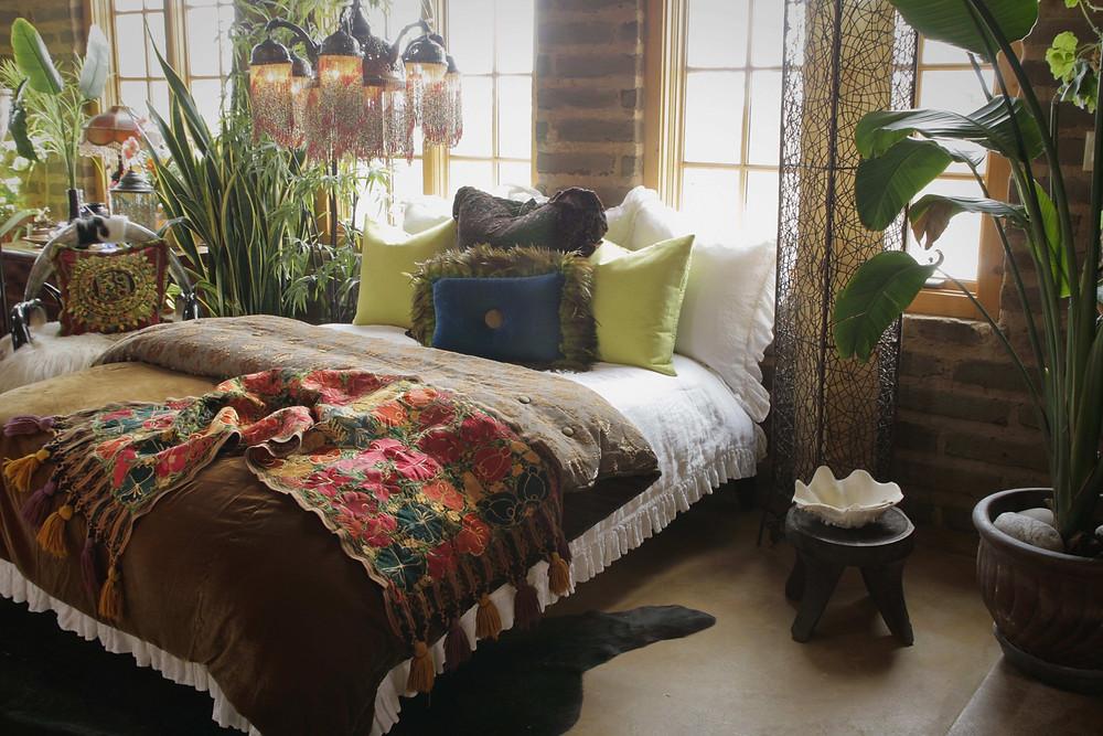 Bohemian Bedroom, eclectic decor, boho decor.