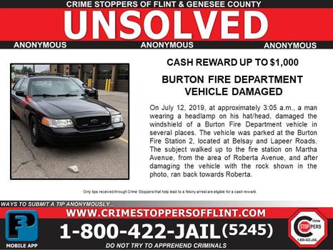 Burton Fire Dept. Vehicle Damaged