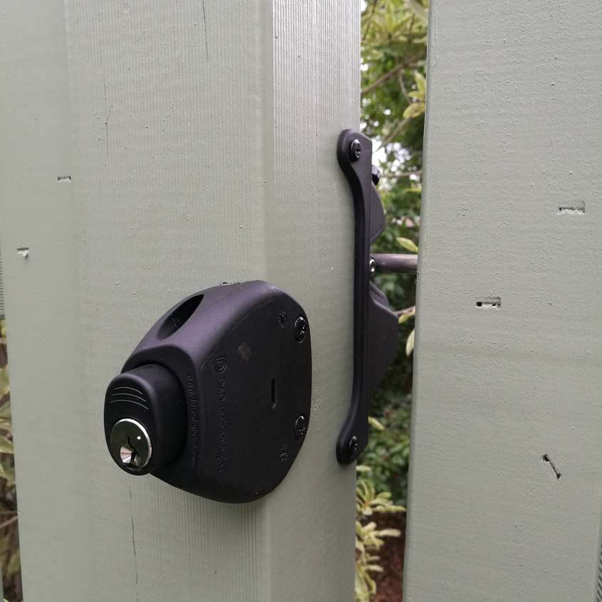 Outside View of the Gate Latch/Lock. The key can lock/unlock the latch.