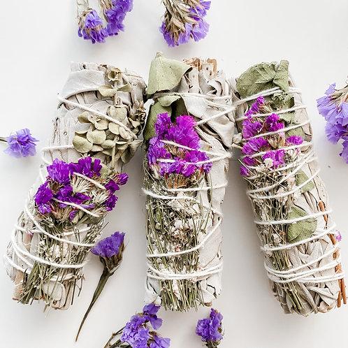 White Sage, Lavender, Eucalyptus Dollar Smudge Trio