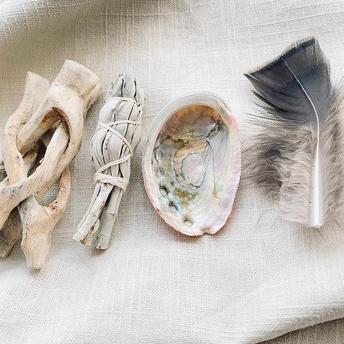 Sacred Sage and Abalone Travel Smudge Kit