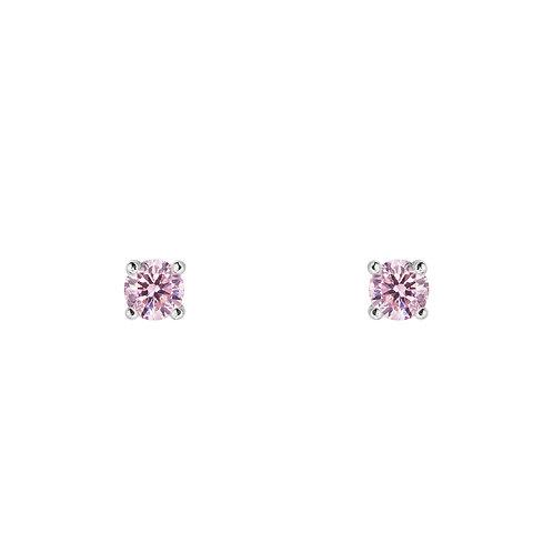 Гвоздики с розовыми камнями фианитами из серебра