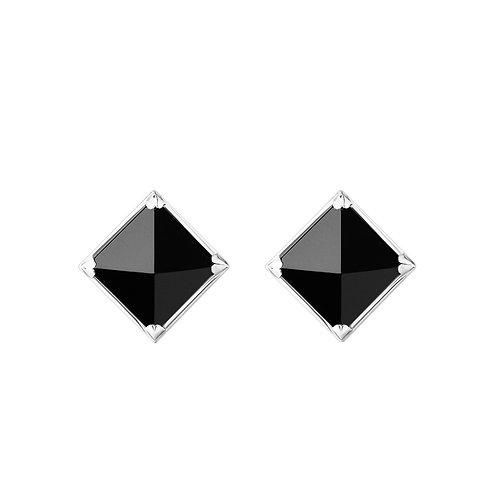 Серьги с черными камнями пирамидками с обсидианом