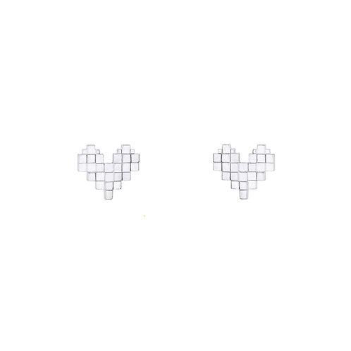 Гвоздики пиксели сердца из серебра STELLAR
