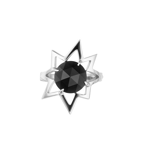 Кольцо с черным камнем с обсидианом из серебра STELLAR