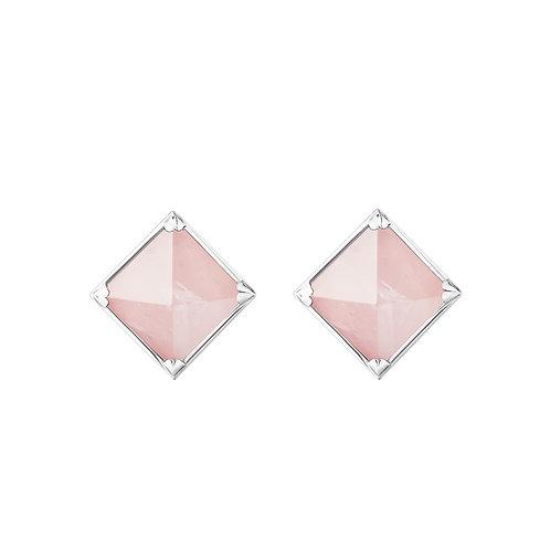 Серьги с розовыми камнями пирамидками с кварцем из серебра STELLAR