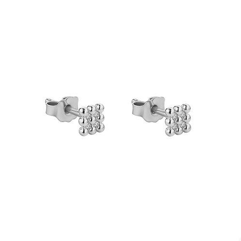 Маленькие серьги гвоздики из серебра квадратики из точек STELLAR
