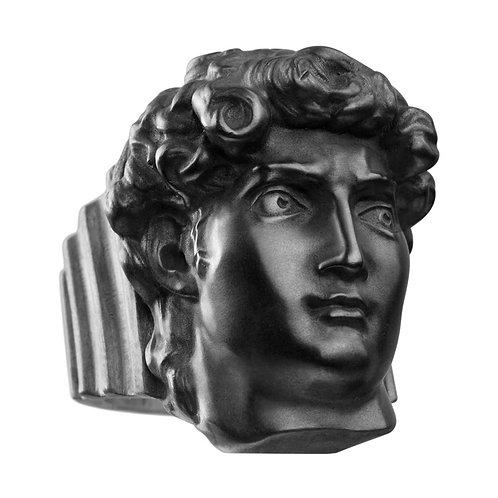 Кольцо с головой Давида из серебра с чернением STELLAR