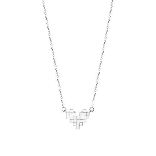 Подвеска сердце из пикселей на цепочке из серебра STELLAR