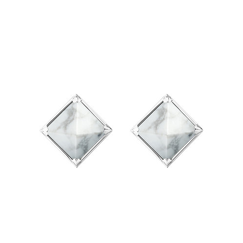 Серьги с белыми камнями пирамидками с магнезитом из серебра STELLAR