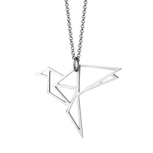 Подвеска оригами птица из серебра на цепочке STELLAR