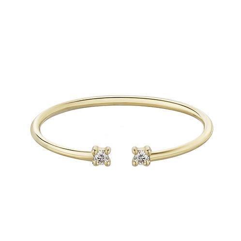 Тонкое золотое кольцо с двумя бриллиантами STELLAR