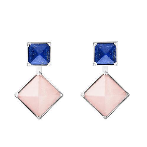 Объемные серьги с розовыми и синими камнями с лазуритом и розовым кварцем из серебра STELLAR
