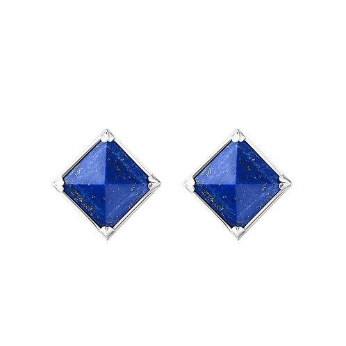 Серьги с синими камнями пирамидками с лазуритом из серебра STELLAR