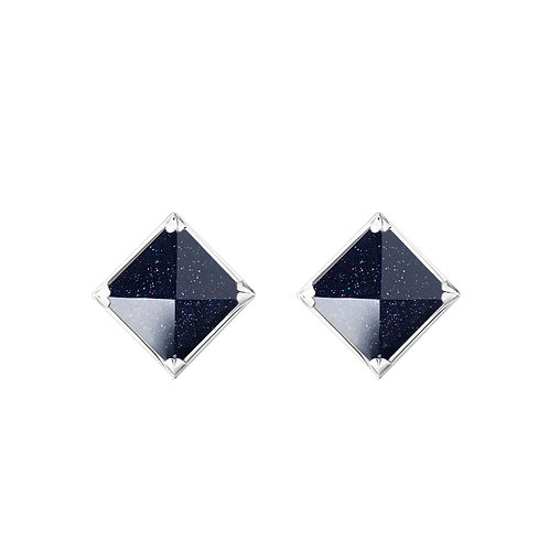 Серьги с черными камнями пирамидками с авантюрином из серебра STELLAR