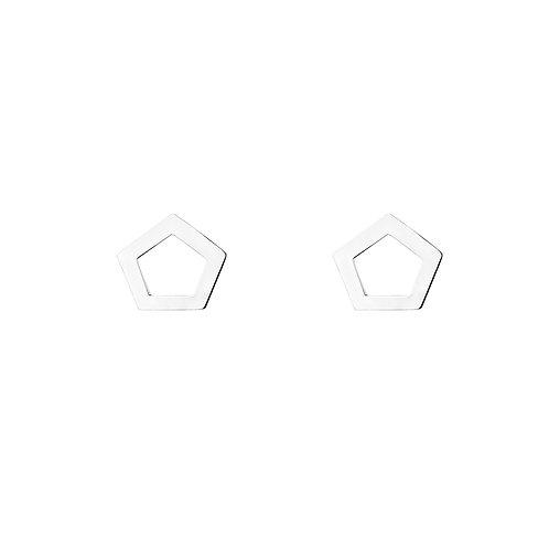 Серебряные серьги гвоздики геометрические пятиугольники пентагон STELLAR