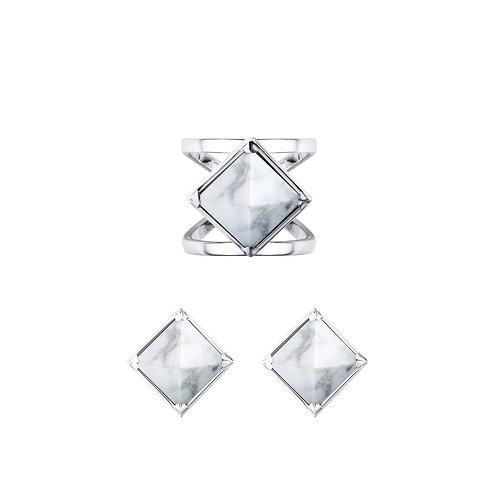 Комплект украшений - кольцо и серьги Marble