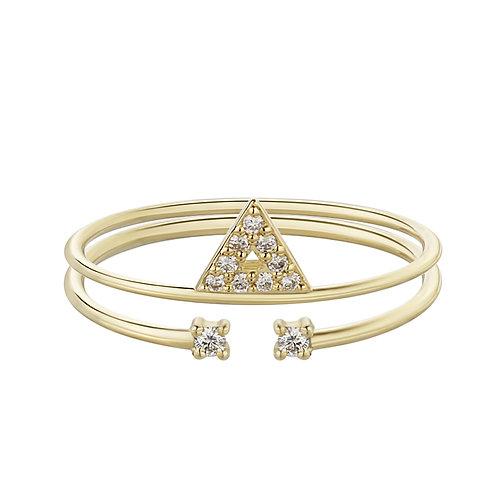 Два тонких золотых кольца в одном с бриллиантами и треугольником