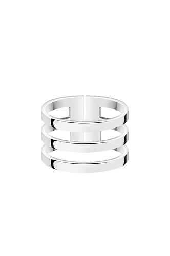Тройное кольцо из серебра на фалангу широкое STELLAR