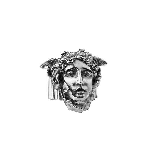 Кольцо массивный перстень из серебра с головой Медузы Горгоны