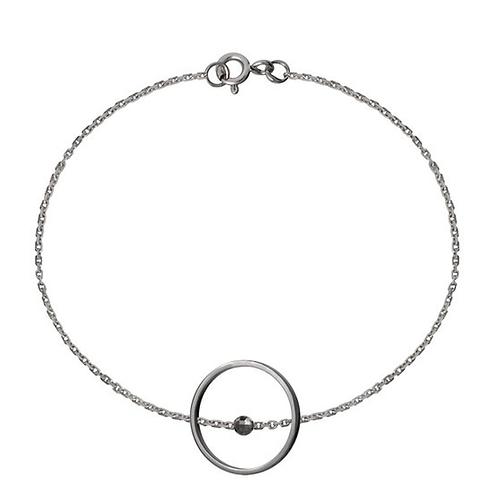 Тонкий браслет цепочка из серебра с кругом STELLAR